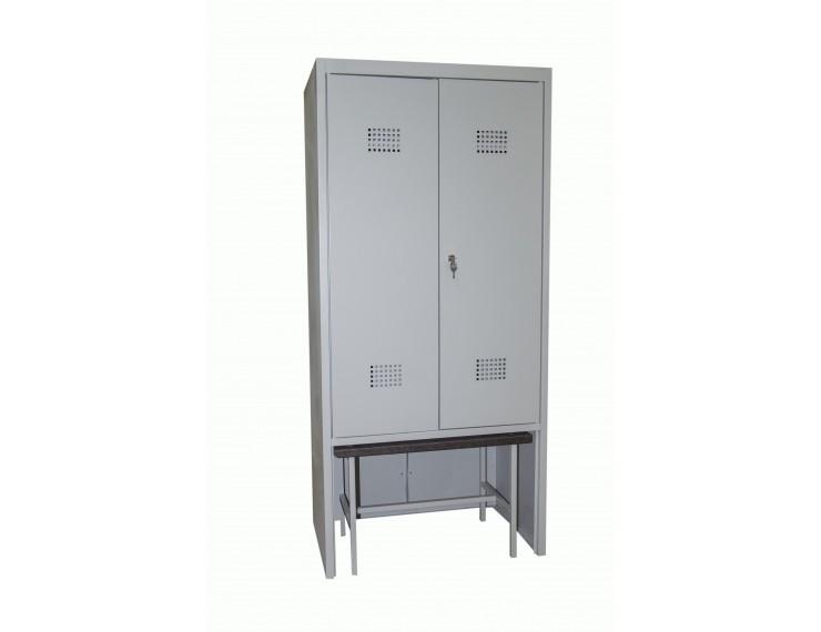 Шкаф для спортивных раздевалок со скамьёй Сотня ШГС/800 СК