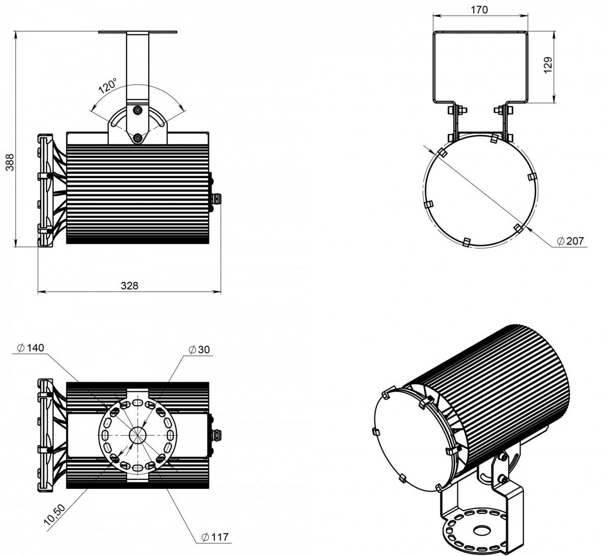 Светодиодный светильник ДСП 07-135-50-К15-03